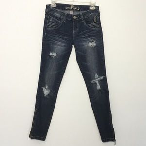 Almost Famous Jeans Dark Wash Distress Like New 5